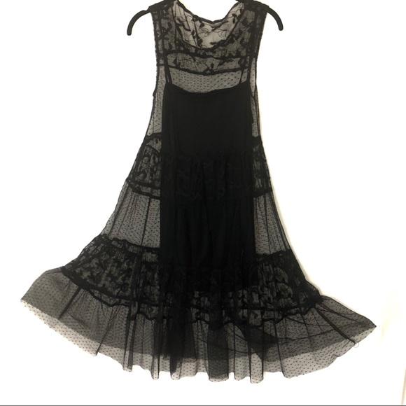 99f978b830 Zara Black Lace Dress Sz Large Tulle Dotted Sheer.  M 5bce6e3a2e14783b644abd24